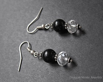 FINAL SALE: Lovely Onyx Dangle Earrings with Clear Facets