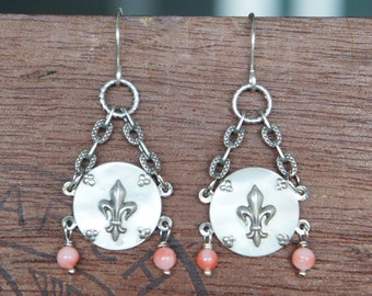 Antique Assemblage Earrings with Fleur de Lys and Coral