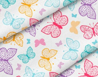 Fabric Jogging colorful butterflies on white | Per Metre