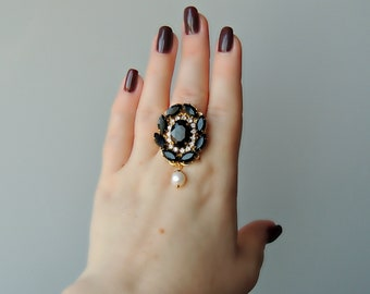Ring with crystals - Black passion