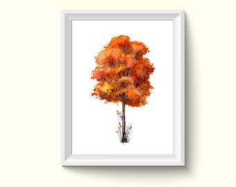 Autumn Tree Watercolor Painting Poster Art Print P497