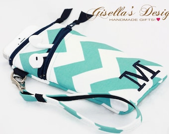 Teal chevron and Navy iPhone 8 wristlet Wallet with Asymmetric pocket, Personalized iPhone 7 holder, Samsung Galaxy S8 /S8 Plus. (PWAZ)