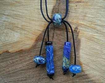 Deep blue Glass bead necklace, Lampwork Boho Jewelry, mosaic style adjustable bead jewelry, organic handmade artisan glass beads, SRAJD
