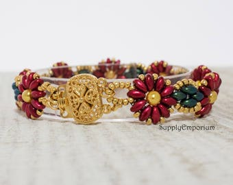Bead Pack BB163 Christmas Flowers - Tutorial By SpinPlanet Sold Separately - Beaded Bracelet Bead Pack BB-163 Christmas Flowers