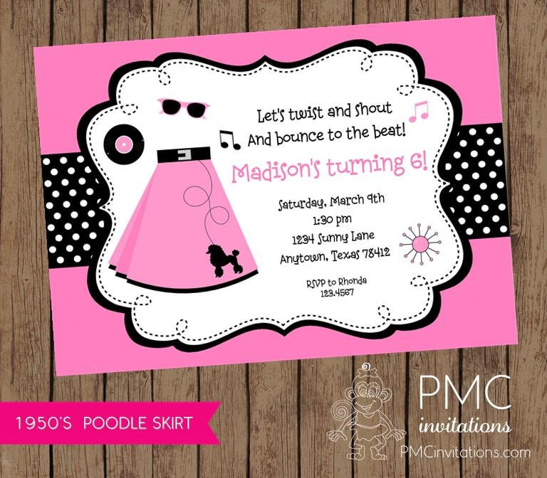 1950\'s Poodle Skirt Birthday Invitations 1.00 each with