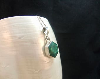 Green Emerald Sterling Silver Necklace