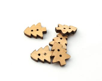 Set of 5 wooden Christmas tree buttons