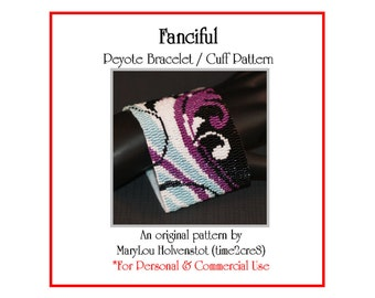 Peyote Bracelet Pattern ... FANCIFUL ... Flourish . Swirly . Girly . Stylish . Modern . Elegant . Make It Yourself . Trendy . 3 for 2
