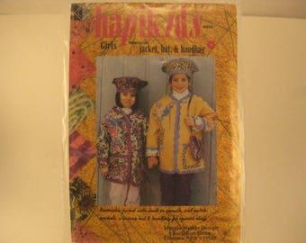 Hapikids Girls' Sewing Pattern sz 4-5-6-7-8-10 & 12 Girls Jacket, Hat and Handbag - Maggie Walker Design [L38]
