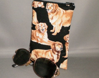 Golden Retriever Eyeglass or Sunglasses Case - Padded Zippered Pouch - Dogs