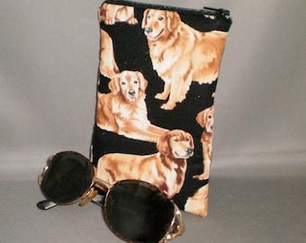 Golden Retriever Eyeglass or Sunglasses Case - Padded Zippered Pouch - Dogs