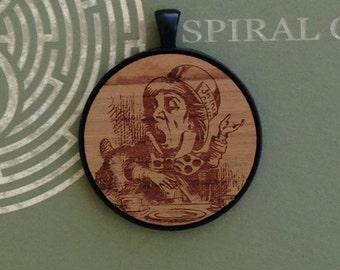 Alice in Wonderland - Mad Hatter - Laser Engraved Wood Pendant Necklace