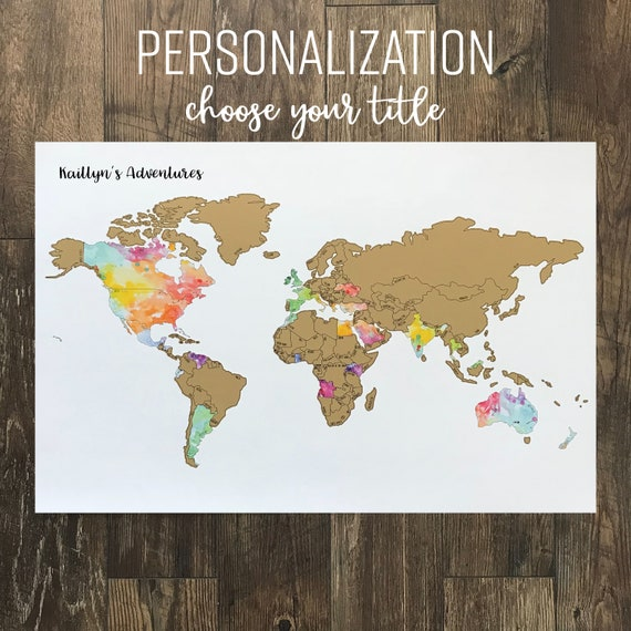 Personalized world watercolor scratch off map been there personalized world watercolor scratch off map been there scratched that 20x30in international map gift gumiabroncs Image collections