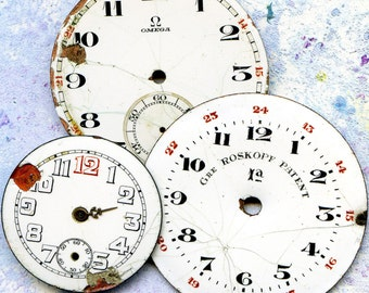 vintage 3 pocket watch faces to use in your ASSEMBLAGE mixed media JEWELRY or in any way you want  Apr 23