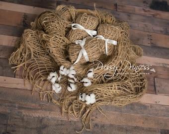 Newborn photography props, burlap blanket baby photography props, natural burlap layer baby props, baby nest photo prop, baby posing props