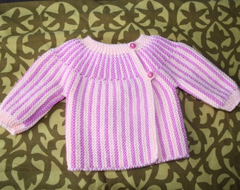 Salmon and pink striped baby jacket hand knitted