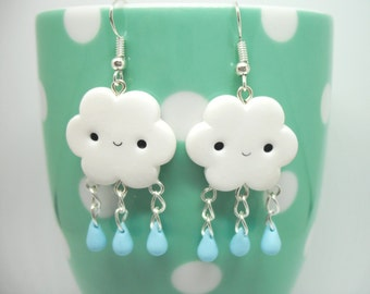 Cute cloud with raindrops polymer clay earrings
