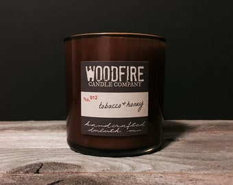 TOBACCO & HONEY Whiskey Glass Soy Candle, wood wick, man candle, gift ready