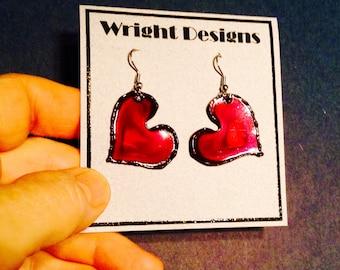 Red heart earrings handmade