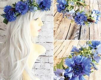Blue Cornflowers Flower Crown