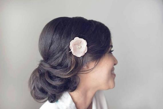 Blush Pink Hair Flower Or Brooch Bridal Wedding: Items Similar To Blush Bridal Flower Hair Clip, Blush Pink