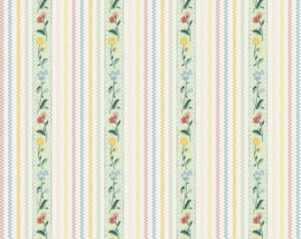 Bunnies and Cream - Stripe Mint by Lauren Nash for Penny Rose Fabrics, 1/2 yard, C6023-Mint