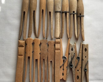 18 Old Wood Clothes Pins In Five Different Styles