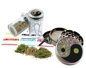 "Yin Yang Psychedelic - 2.5"" Zinc Alloy Grinder & 75ml Locking Top Glass Jar Combo Gift Set Item # 110514-0012"