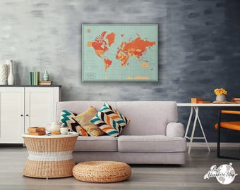 World map pin board / World Travel Map Canvas / Push pin world map / Pin Adventure map / Travel Gift