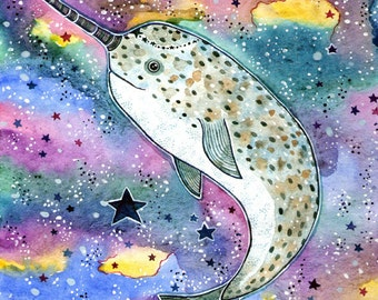 Narwhal Print Art Whale Decor Kids Room Print Sea Creature Whale Narwal  Watercolor Art Whale Wall Print Nautical Watercolor