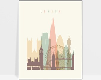 London print, London poster, wall art, London Skyline, London art, Travel poster, City prints, London Gift, Home Decor, ArtPrintsVicky