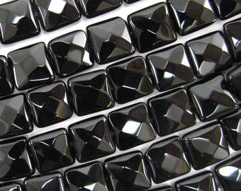 """10mm faceted black onyx flat square beads 15.5"""" strand 34793"""