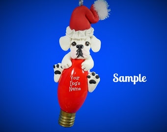White Boxer Santa Dog Christmas Light Bulb Ornament Sally's Bits of Clay PERSONALIZED FREE with your dog's name