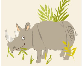 Rhino - safari zoo art print 8x10 - nursery art for children