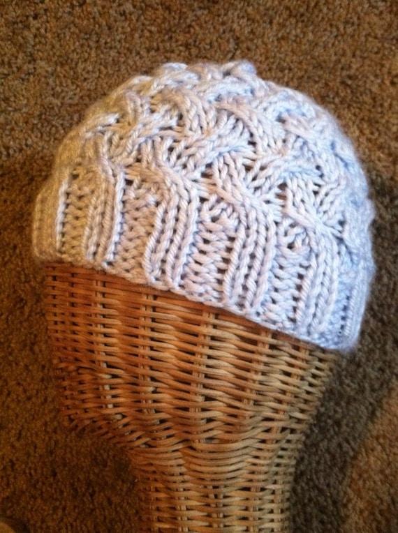 Baby blue lattice cabled beanie ski hat