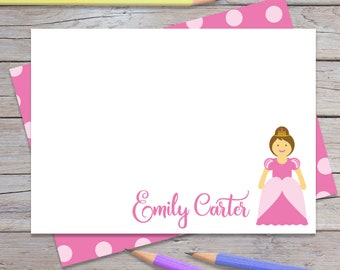 Personalized Princess Thank You Notes, Girls Custom Thank You Note, Notecards for Kids, Stationery Set for Girl, Blank Cards (1702-002FL)