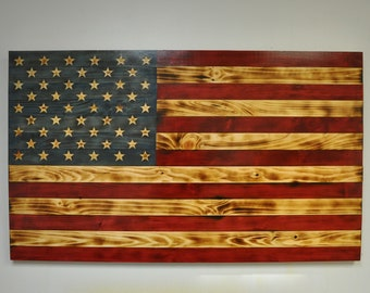 Wooden American Flag Carved Stars, Wood Wall Art Rustic Decor, USA,  Hand Crafted