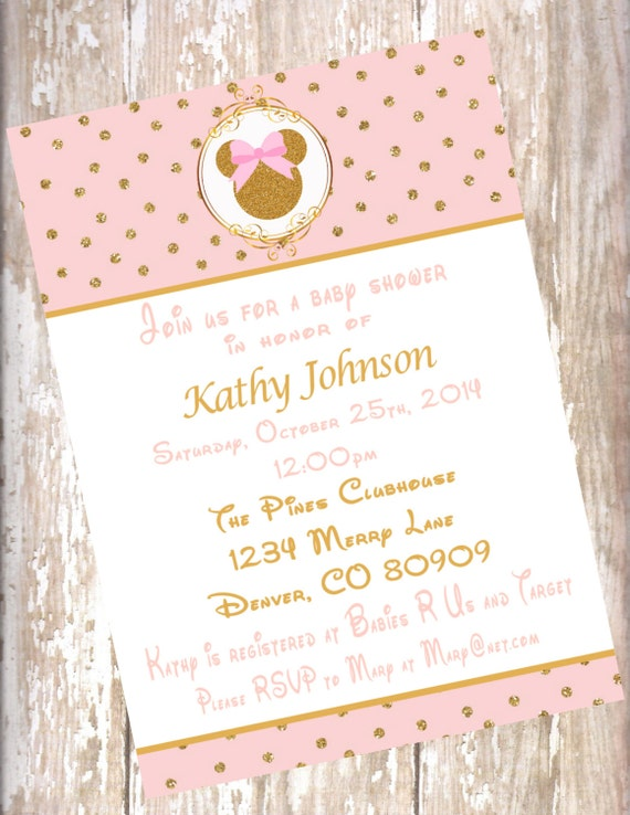 Minnie mouse blush pink and gold baby shower invitations filmwisefo