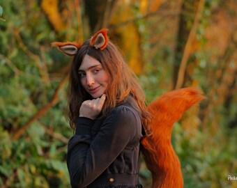 Red Custom Colour Squirrel Costume Set!  Ears and Tail Luxury Faux Fur Swirly Custom Girl Shape Long Costume Cosplay Monkey Joe Tippy Toe