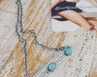 Sterling Silver Hearts Bar Necklace with turquoise