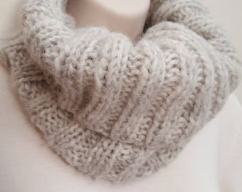Knit Neck Warmer - Light Gray Heather