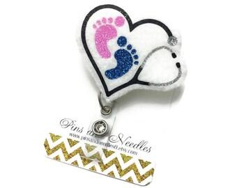 Pediatrician Id Badge Reel - Maternity Retractable Badge Reel - Badge Holder - Mid Wife Id Badge Reel - Doctor Gifts - NICU ID Badge Reel