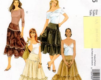McCall's Pattern M5005 - Misses Loose-Fitting Skirt with Front and Back Gathered into Yoke, Lower Ruffles, Side Zipper - UNCUT