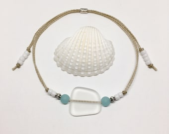 sea glass jewelry, beachcomber beach anklet, gift for her