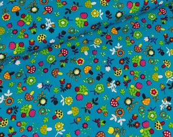 Cotton mushrooms & flowers in turquoise (8,50 EUR / meter)