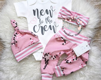 Newborn Baby Girl Outfit Baby Girl Coming Home Outfit Baby Girl Clothes New to the Crew  Organic Baby Girl Outfit Baby Shower Gift Pink