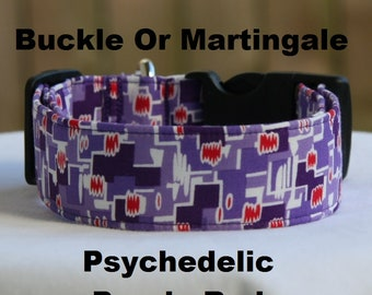 Psychedelic Purple Red-Adjustable Buckle-Martingale Dog Collar-Small-Large Breed Dog-1 inch 1.5 -2 inch width-Traffic-Dog Leash-