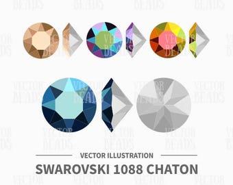 Vector Illustration of Swarovski 1088 Chaton Stone - Digital Clipart