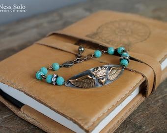 Turquoise bead bracelet Bohemian bracelet Boho beaded bracelet Angel wing bracelet Crowned Heart Boho chic Festival jewelry Rocker jewelry