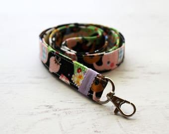 Cute animal print lanyard - black lanyard - teachers lanyard - cute key lanyard - ID holder lnayard - black neck lanyard - kawaii lanyard
